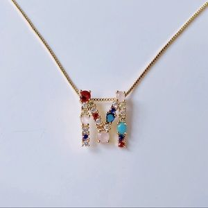 Letter M initial monogram necklace multi stone